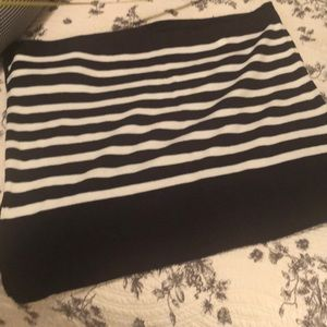 LOFT Navy/white stripe asymmetrical poncho